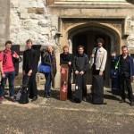 Choir and orchestra before rehearsal in Farnham